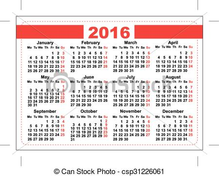 Clip Art Vector of 2016 pocket calendar. Template grid. Horizontal.