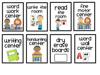 Literacy Center Labels for a Pocket Chart.