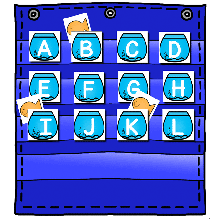 Alphabet Hide & Seek Pocket Chart Cards.