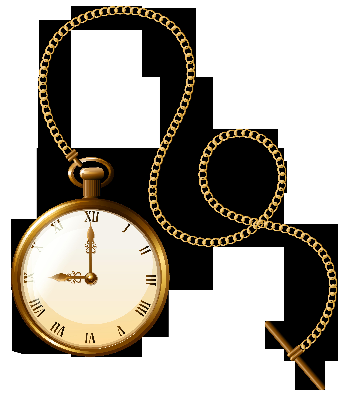 Gold Pocket Watch Clock PNG Clip Art.