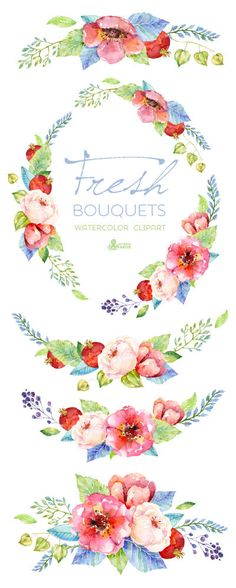 Lavender Watercolour Bouquets & Wreath Clipart. Hand painted.