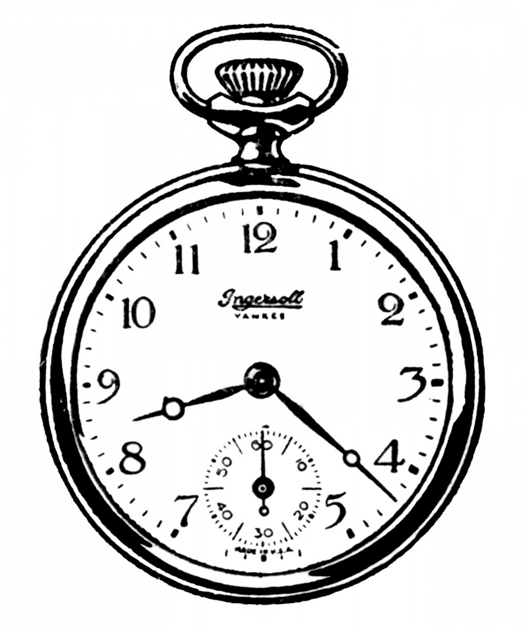 Vintage Clip Art Black And White Pocket Watches.