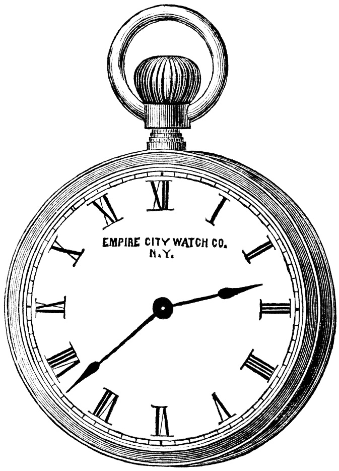 Gold pocket watch clipart.