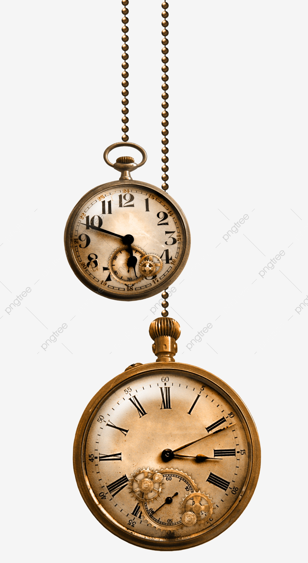 Pretty Metal Pocket Watch, Shackle, Chain, Pocket Watch PNG.