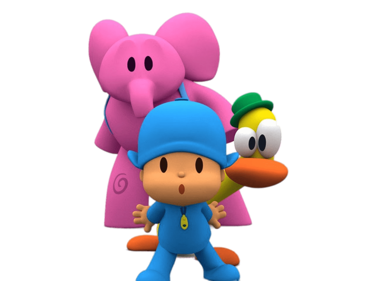 Pocoyo, Elly and Pato transparent PNG.