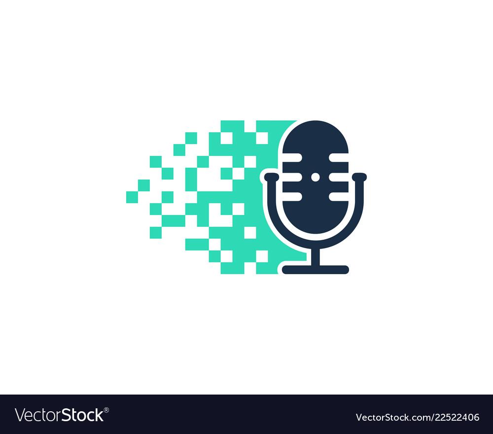 Pixel podcast logo icon design.