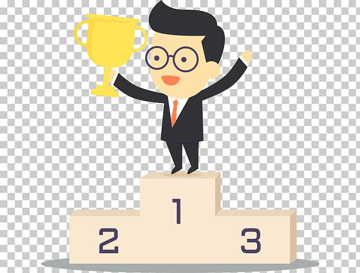 Hombre sosteniendo trofeo, trofeo podio, ganador PNG Clipart.