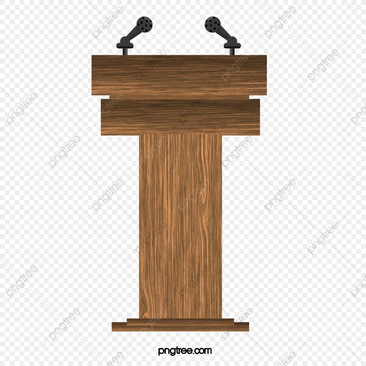 Vector Wooden Podium, Wooden Podium, Podium, Cartoon Podium.