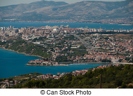 Picture of Split in Dalmatia, Croatia. View from Podstrana.