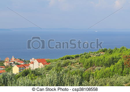 Stock Imágenes de pueblo, velero, podstrana, croacia, mar.