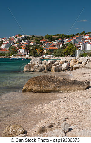 Picture of Croatian stone beach near Split.