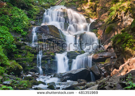 Tranquil Waterfall Scenery Middle Autumn Forest Stock Photo.