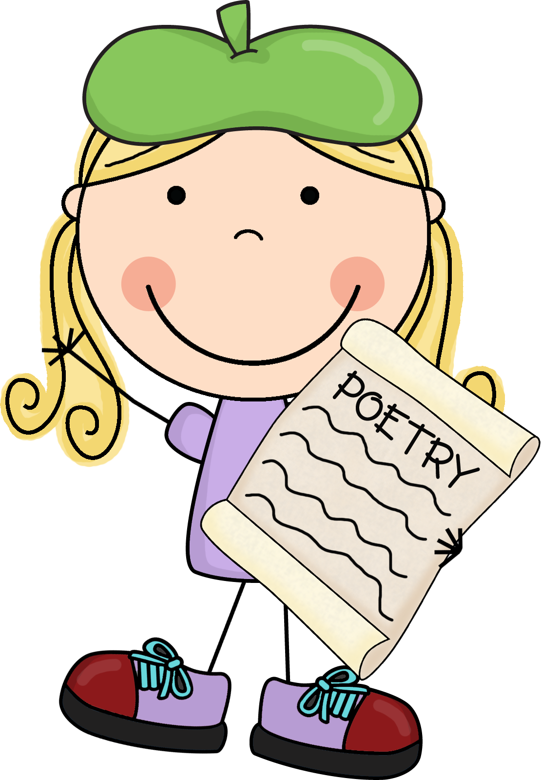 Poetry reading clipart.