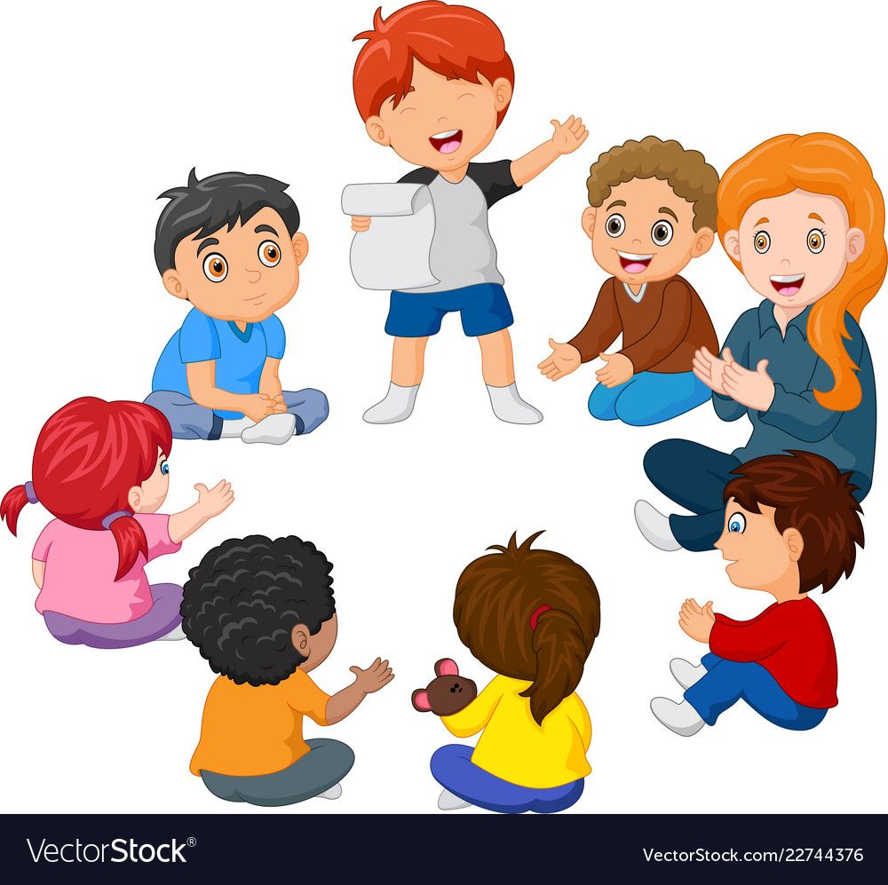 Kids sitting in a circle reading a poem Royalty Free Vector.