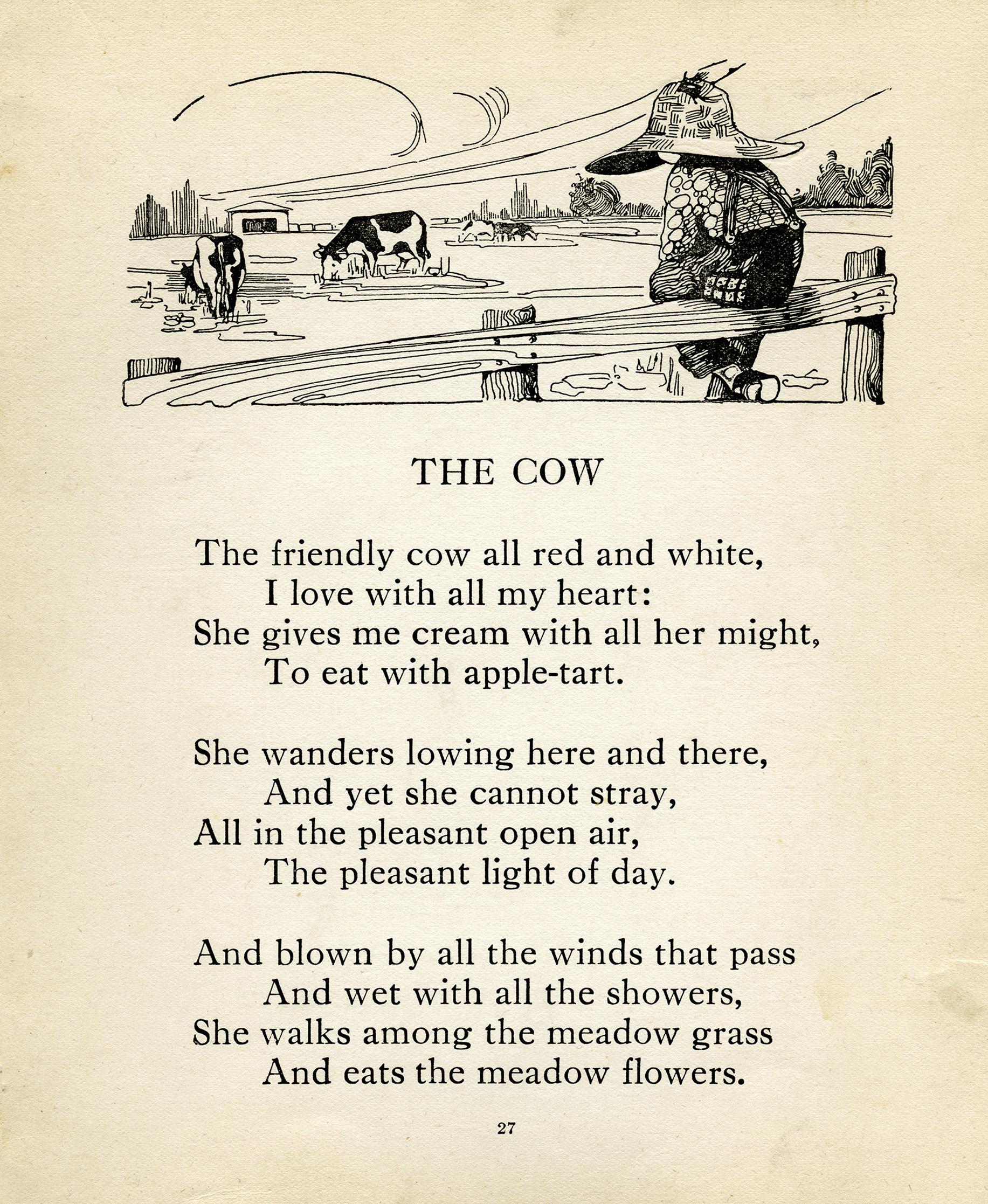 Robert Louis Stevenson, cow poem, vintage cow clip art, farm boy.