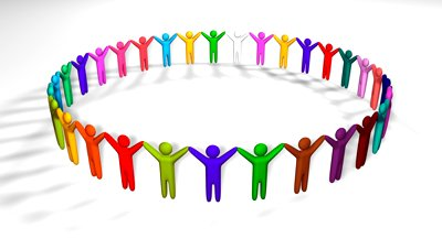Group of people holding hands clipart.