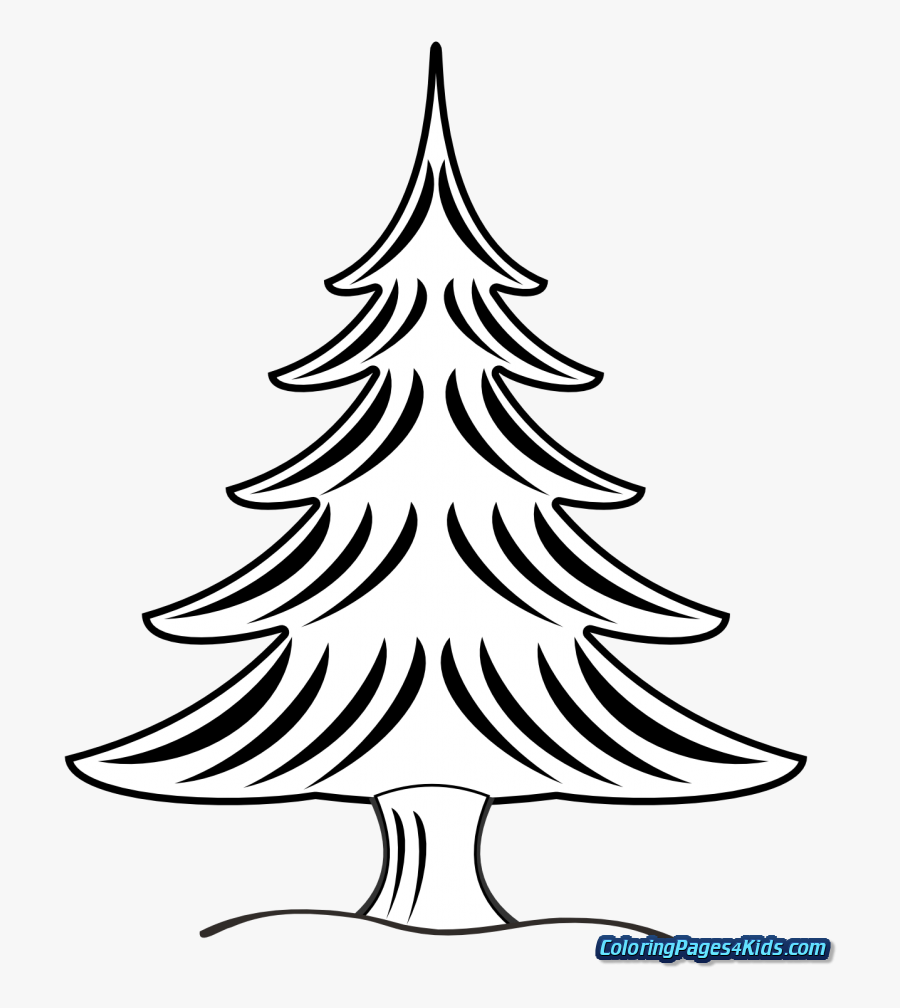 Christmas Tree With Presents Coloring Pages For Kids.