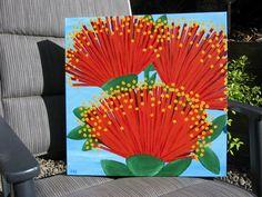 Abstract pohutukawa flowers.