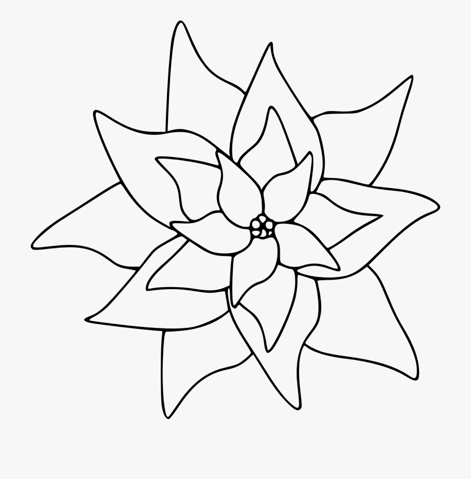 Poinsettia Clip Art Black And White.