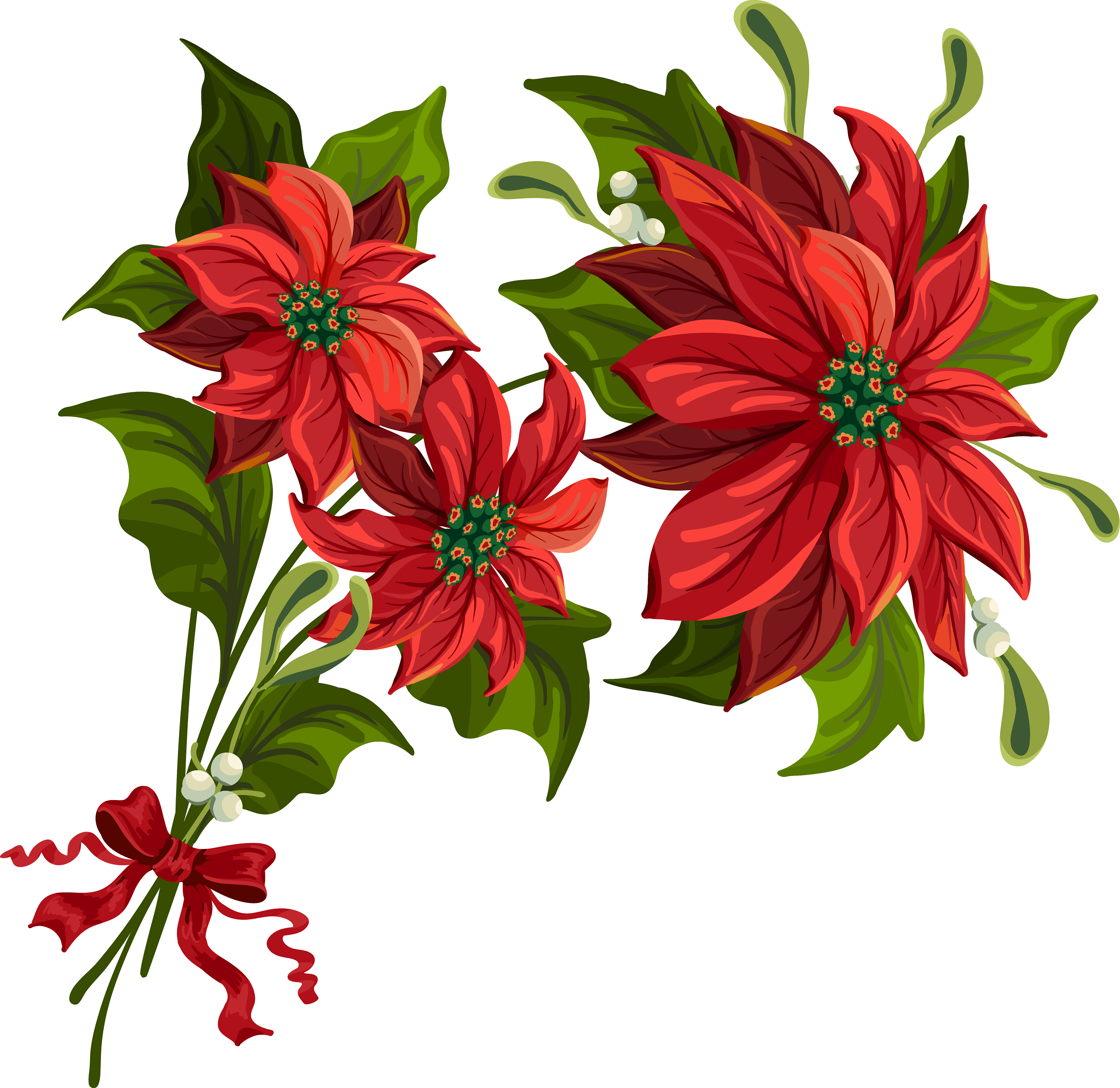 Christmas poinsettia clip art large.