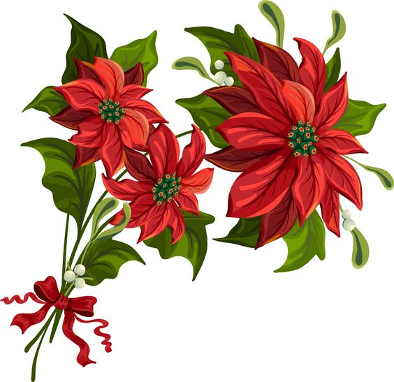 Christmas poinsettia clip art large.