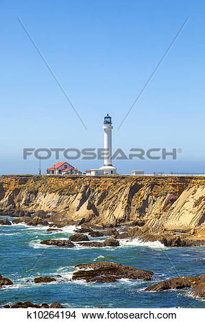 Stock Photo of famous Point Arena Lighthouse in California.