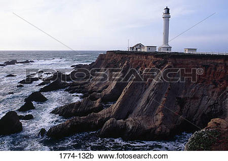 Stock Photography of Lighthouse on the coast, Point Arena.