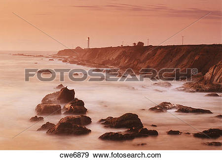 Stock Photograph of Point Arena Lighthouse on Pacific Coast in.