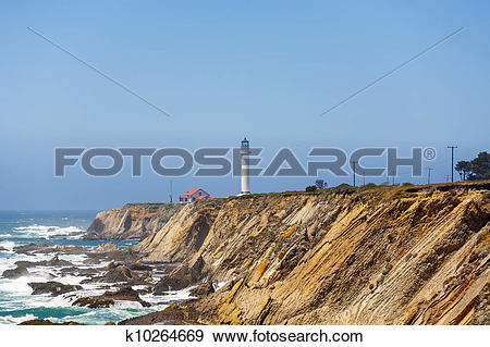 Stock Photograph of famous Point Arena Lighthouse in morning fog.