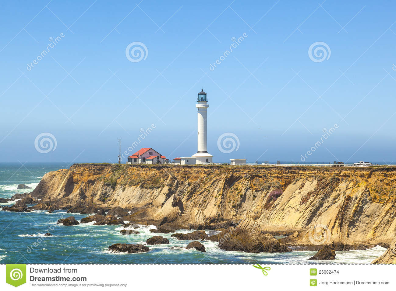 Famous Point Arena Lighthouse In California Stock Images.