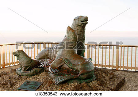 Stock Photo of statue sea lion cove south point arena in county.
