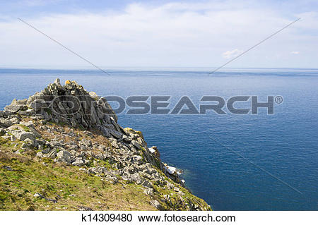 Stock Photography of Cape Ra, (Pointe du Raz), westernmost France.