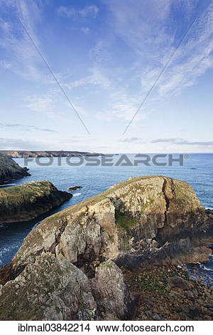 "Stock Photo of ""View from Pointe du Van to Pointe du Raz, Cap."