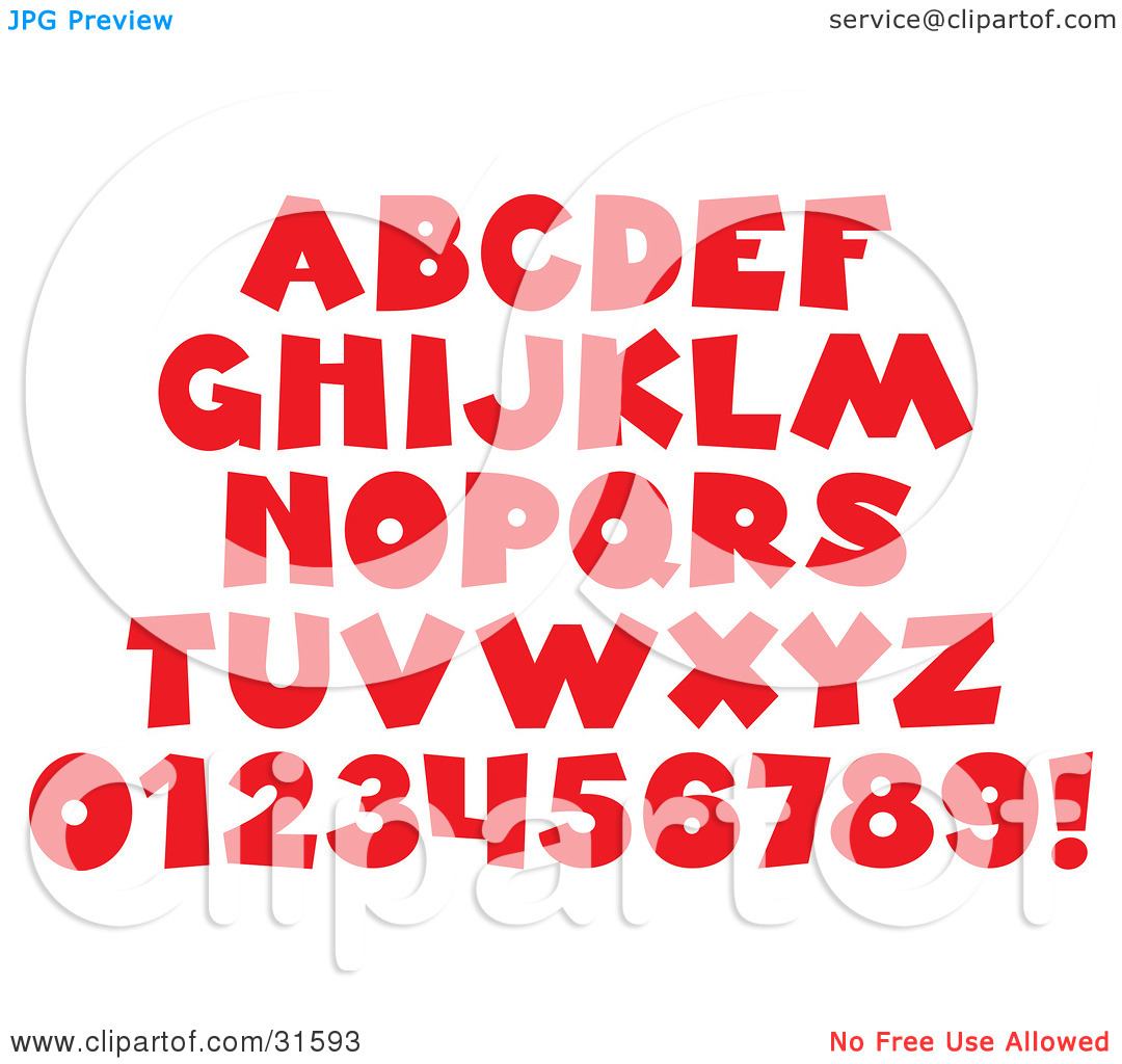 Clipart Illustration of a Font Set Of Red Letters, Numbers And An.