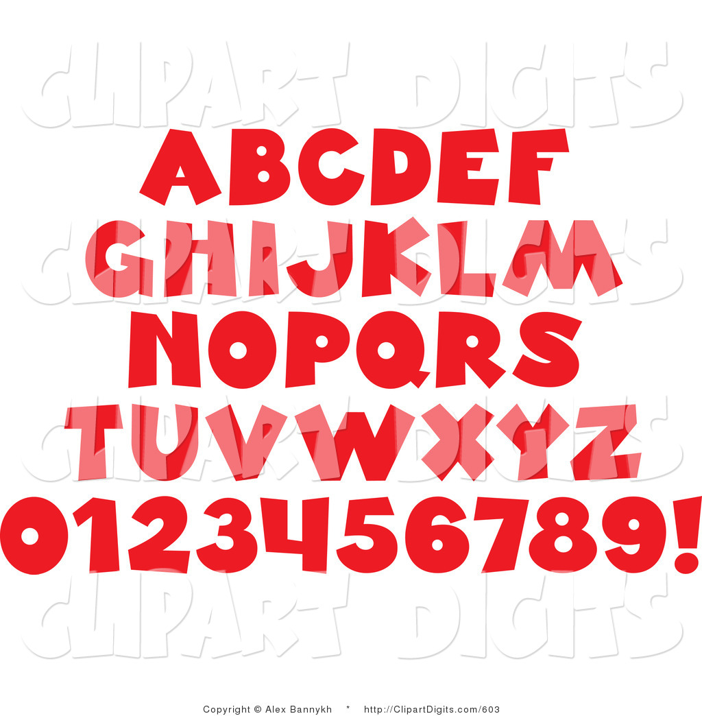 Vector Clip Art of a Font Set of Red Alphabet Letters, Numbers and.