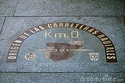 Kilometer Zero Point Sign In Puerta Del Sol Madrid Royalty Free.