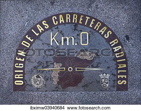"Stock Photo of ""Kilometer zero, zero."