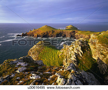 Stock Image of England, Cornwall, Polzeath. Rumps Point and The.