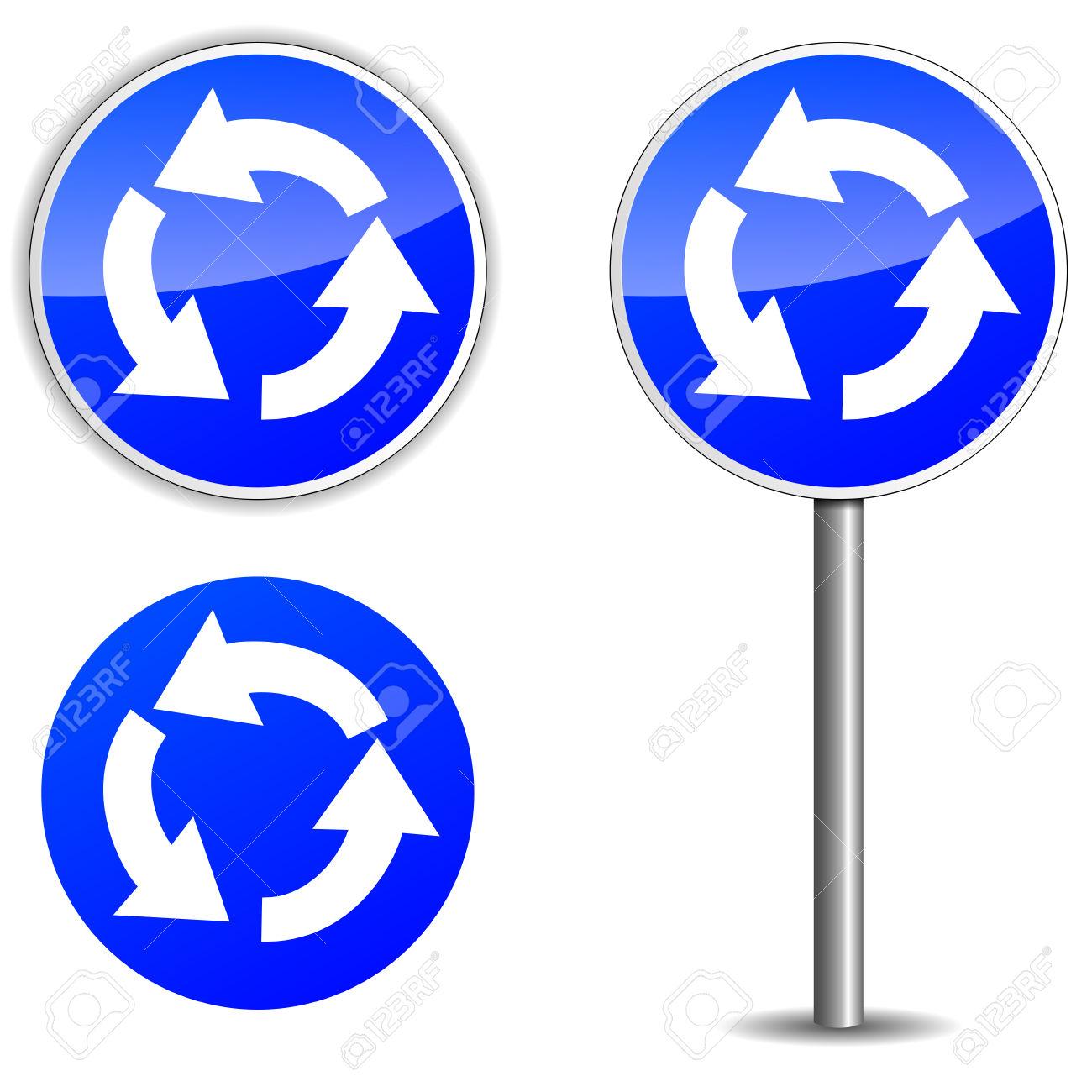 Vector Illustration De Panneau Bleu Rond.