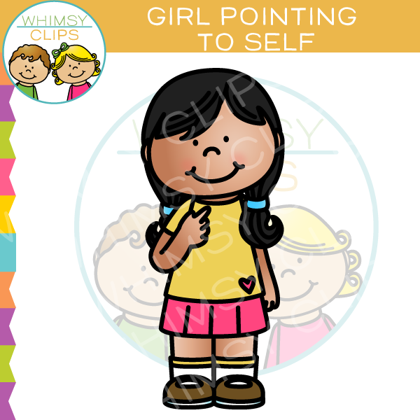 Girl Pointing To Self Clip Art.