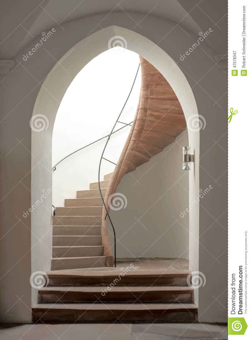 Pointed Arch With Staircase Stock Photo.