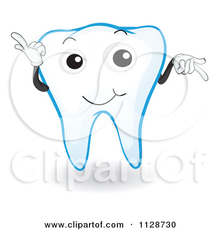 Cartoon Of A Blue Tooth Mascot Pointing.