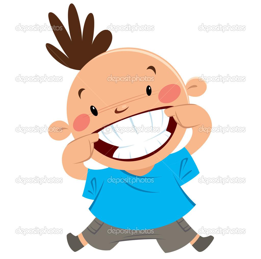 Big smile with teeth clipart boy.