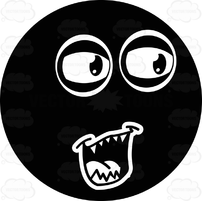 Pointed Teeth, Looking Right Black Smiley Face Cartoon Clipart.