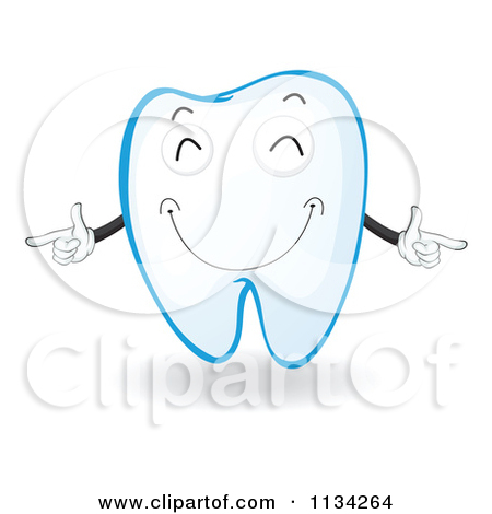 Cartoon Of A Happy Pointing Tooth.