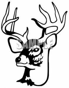 Clipart Picture of a Deer Head with Four Point Antlers.