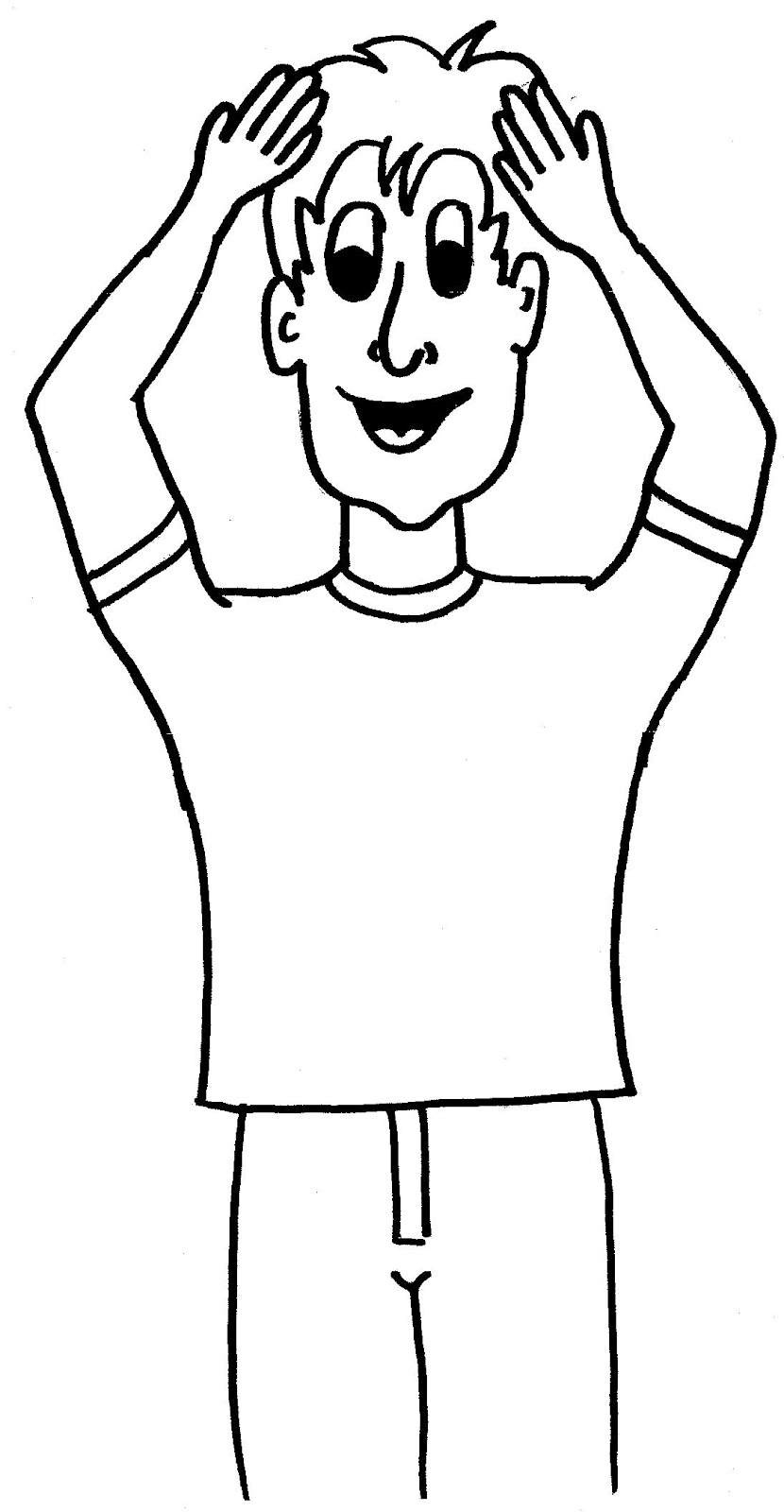Clipart point to head black and white.