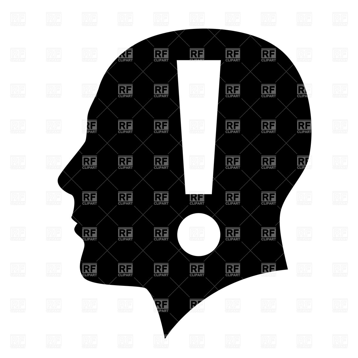 Head silhouette with exclamation point mark inside Vector Image.
