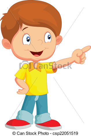 Boy pointing clipart.