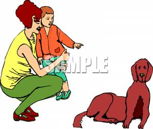 Mother and Child Pointing At a Dog.